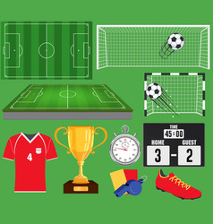 soccer set football equipment collection vector image