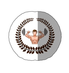 Sticker arch of leaves with muscle man lifting a vector