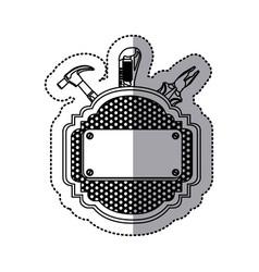 Sticker silhouette heraldic metallic frame grille vector