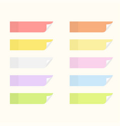 Sticky stickers with flip edges set notice vector