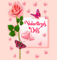 Stock valentines day greeting card with rose and vector