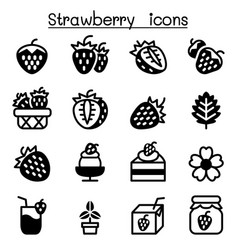 strawberry icon set vector image