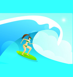 Summer background with woman playing surfing vector