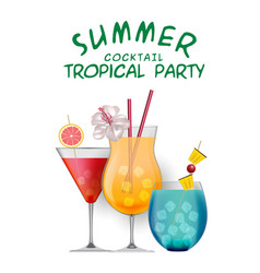 summer cocktail tropical party set of cocktail whi vector image