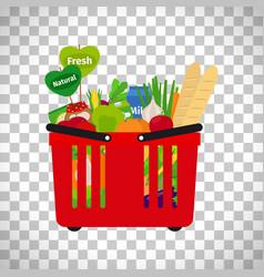 Supermarket shopping basket with natural food vector