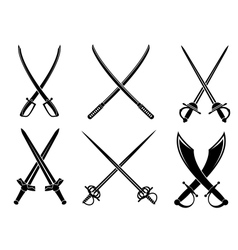 Swords sabres and longswords set vector