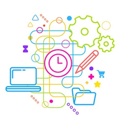 Symbols of office working at the computer on vector image