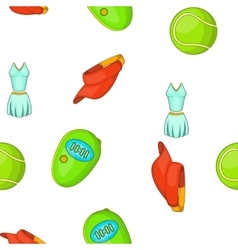 Tennis equipment pattern cartoon style vector