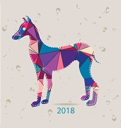 The 2018 new year card with dog made of triangles vector
