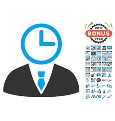 Time Manager Icon With 2017 Year Bonus Symbols vector