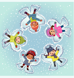 Top view kids lying and making snow angel vector