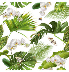 Tropical orchid white pattern vector