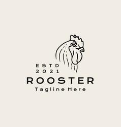 vintage line art rooster head logo design icon vector image
