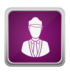 violet square button relief with silhouette vector image