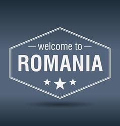 Welcome to Romania hexagonal white vintage label vector