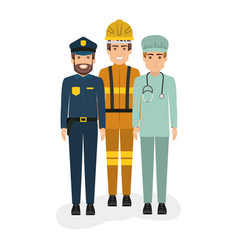 white background with policeman and firefighter vector image