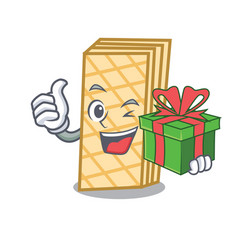 With gift waffle mascot cartoon style vector