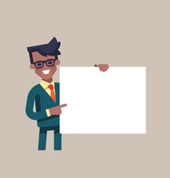 blackmanager in formal suit holding a blank sheet vector image