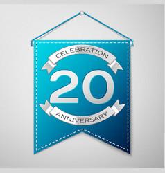 blue pennant with inscription twenty years vector image