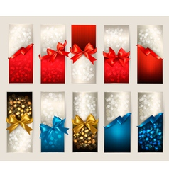 Collection of beautiful gift cards with color gift vector image vector image