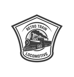 emblem template with retro train rail road vector image vector image