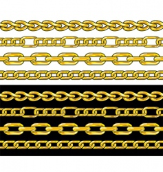 gold chain seamless borders set vector image