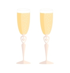 wedding glasses with champagne over white vector image