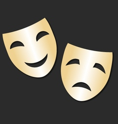 Isolated theater gold cheerful and sad mask vector image
