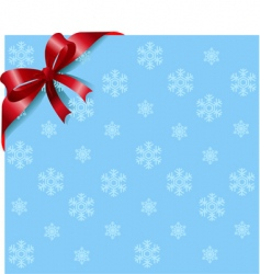 red ribbon on snowflakes background vector image