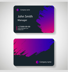 stylish dark business card template vector image