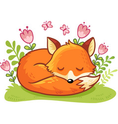the fox is asleep on a flower clearing vector image