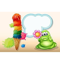 A giant icecream near the monster with a flower vector image vector image
