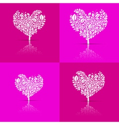 Abstract heart-shaped tree set on violet and pink vector