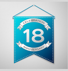 blue pennant with inscription eighteen years vector image