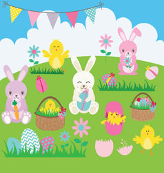 Easter Bunny set vector image