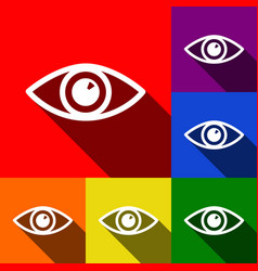 eye sign set of icons with vector image vector image