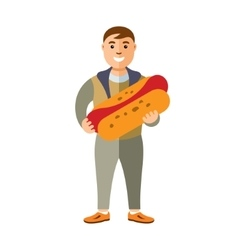 Happy hipster man with hot dog Flat style vector image vector image