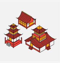 isometric pagoda house chinese landmark vector image