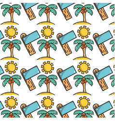 Palm with coconut and sun with surfboard vector