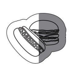 silhouette hot dog and hamburger icon vector image
