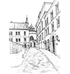 sketch of old european city vector image
