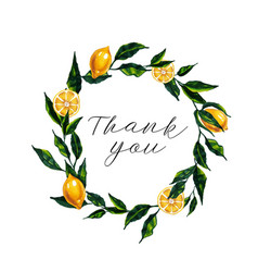 thank you card with watercolor lemon wreath vector image