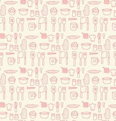 Doodle kitchen seamless pastel color background vector image