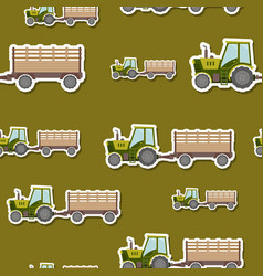 seamless pattern with farm tractor and trailer vector image