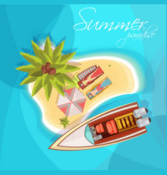 sunbathers on island composition top view vector image vector image
