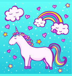 Sweet unicorn on a blue background vector