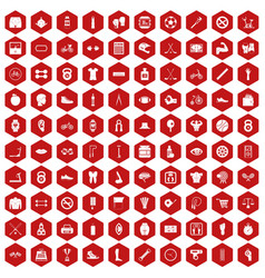 100 kettlebell icons hexagon red vector