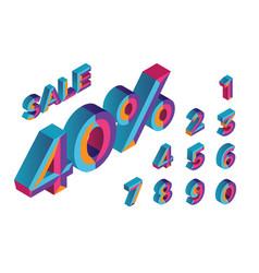 40 sale 0 1 2 3 4 5 6 7 8 9 isometric vector image