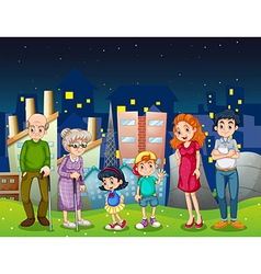 A family at the city standing in front of the tall vector