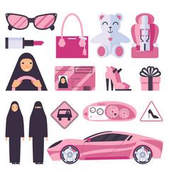 Arabic muslim women that have permission vector